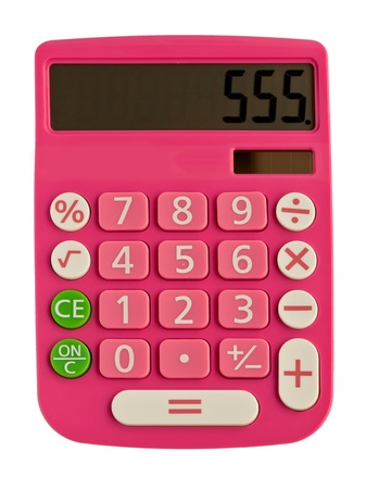addition symbol: glamorous pink calculator with figure on the display 555