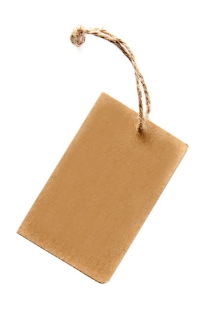 Prices of brown cardboard with a coarse rope Stock Photo
