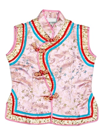 Eastern baby dress with an embroidered floral pattern on white background photo