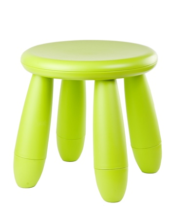 stool: baby green plastic stool on a white background
