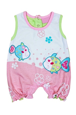 warm cloth: baby romper with fish motif on a white background