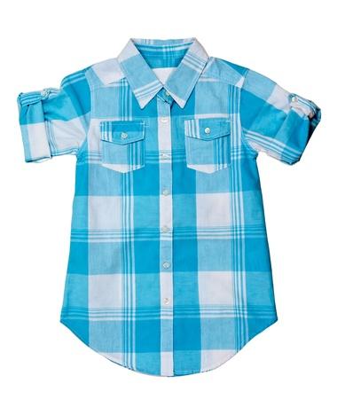 blue plaid shirt isolated on white background photo