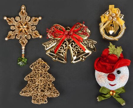 Christmas ornaments and decorations on a dark background photo