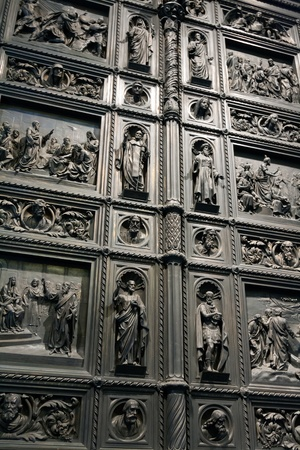 fragment of the iron door of the church in St. Petersburg photo