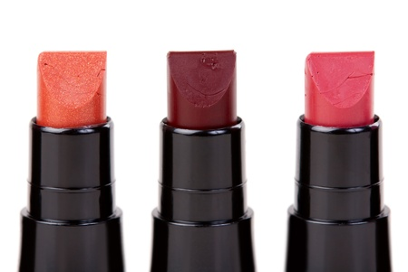 pomatum: Three lipstick set in a row, isolated on white background