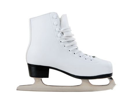 White skates for figure skating on ice Stock Photo