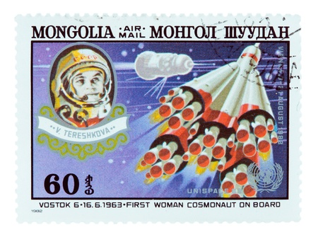MONGOLIA - CIRCA 1982: A stamp printed in MONGOLIA, shows the space Mongol Shuudan Tereshkova, circa 1982 Stock Photo - 13096920