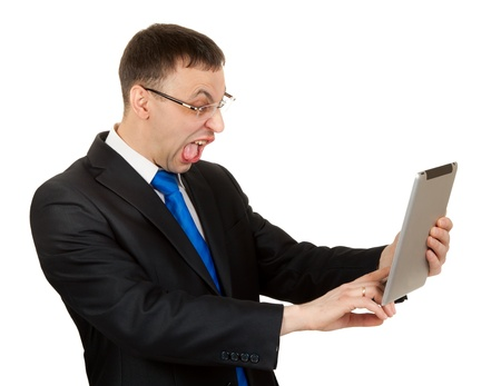businessman with a Tablet PC ape on a white background photo