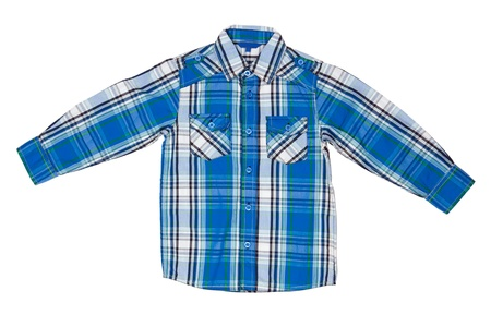 striped shirt: he blue checkered shirt isolated on white background