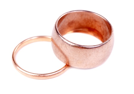 Two old gold wedding ring, isolate on white Stock Photo - 13199468