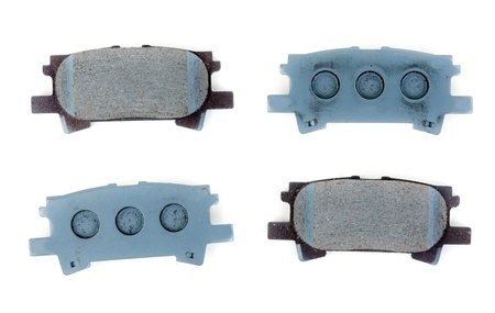 Set of brake pads, isolate on white photo