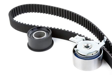 alternator: Roller and timing belt isolated on white