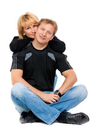 position d amour: Beau couple dans l'amour assis en position du lotus Banque d'images