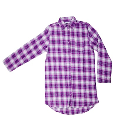 checkered polo shirt: Purple plaid shirt isolated on white background
