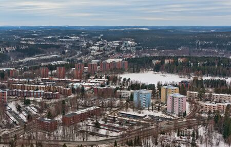 curren: view from the tower to the northern city of Finland Stock Photo