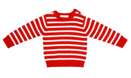 fleece fabric: orange striped sweater for children on a white background