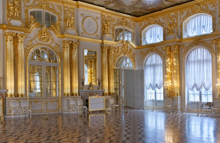 baroque room: Katherines Palace hall in Tsarskoe Selo (Pushkin), Russia Editorial