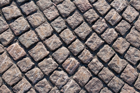 contrasty: Closeup view on a cobblestone road - pattern - background - contrasty due to a side sunlight