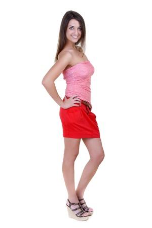 checkered skirt: Lovely sexy girl in checkered shirt on white background