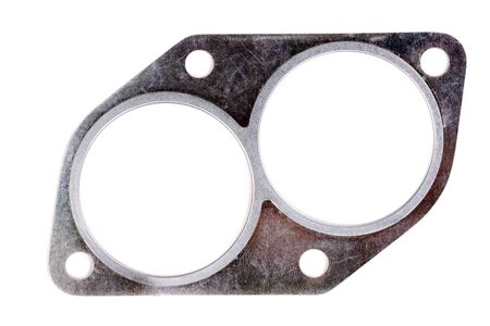 exhaust system: automotive steel gasket for the exhaust system (intake pipe) isolated on white