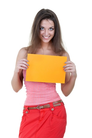 bright picture of confident woman with blank orange board Stock Photo - 13842492