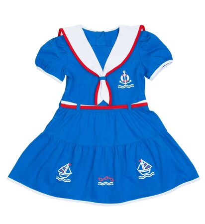 Baby dress patterned with a sea, an anchor on a white background photo