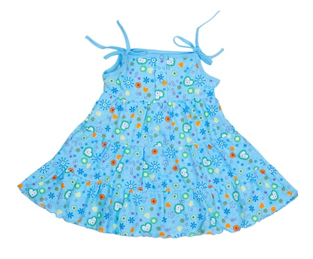 colored blue childrens summer dress on a white background photo