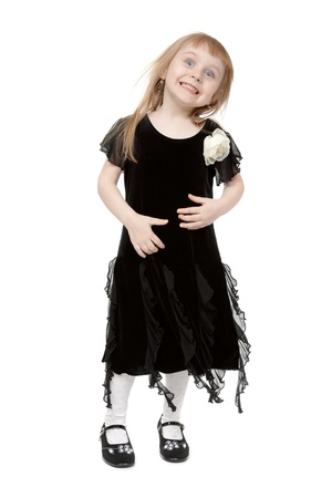 hamming little lady in the studio. Isolate on white background photo
