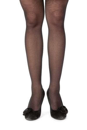 Slender women's legs in pantyhose and high heels shoes Stock Photo - 14357275