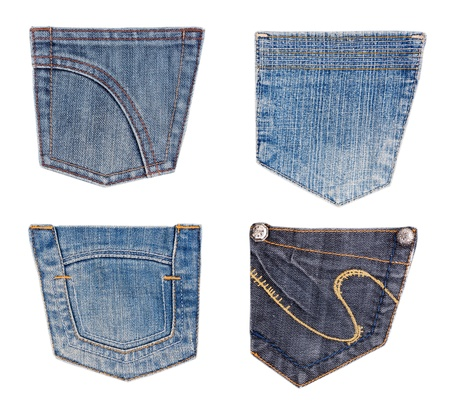 back pocket: collection of different jeans pocket isolated on white.