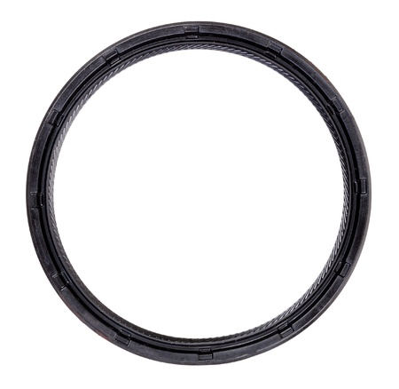 A new metal-rubber rear seal crankshaft car. Isolate on white.
