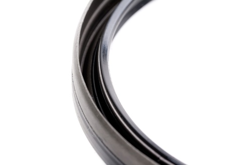 rubber: Crankshaft rear oil seal closeup isolated on white background