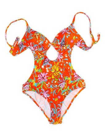 Colorful fused female swimsuit. Isolate on white. photo