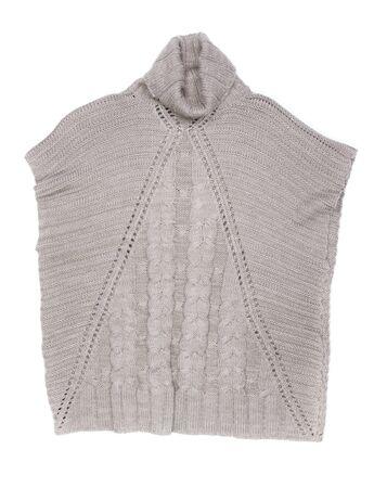 Grey women sweater detail on white background photo