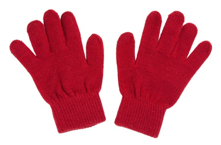 knitten: A pair of red gloves isolated on white background