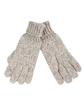 Grey knitted gloves isolated on white background photo