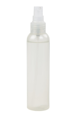 Plastic bottle with a spray on a white background Stock Photo