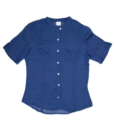sleeved: Fashionable womens blue shirt in the studio on a white background