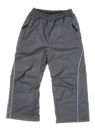 Pantalones de abrigo para el deporte aislado en el fondo blanco