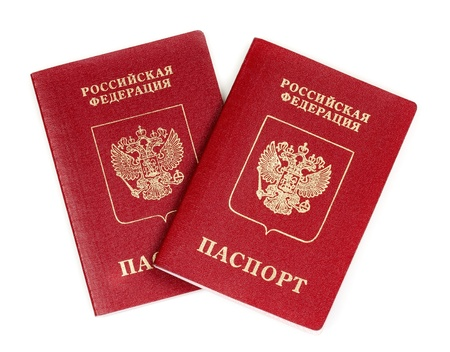 foreign nation: Two Russian international passport isolated on white background