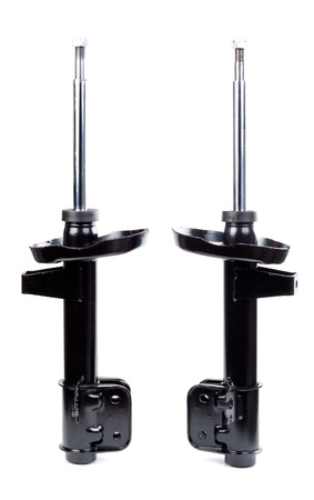 Two black shock absorber. Isolate on white.