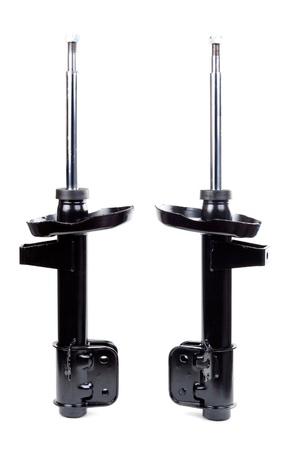 strut: Two black shock absorber. Isolate on white.