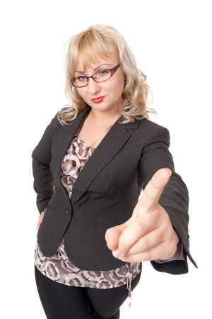Strict business woman with glasses shaking his finger. Isolate on white. Stock Photo - 15574595
