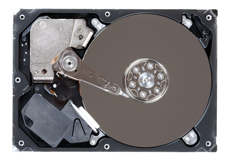 Close-up inside view of hard disk isolated on white background Stock Photo - 15580019