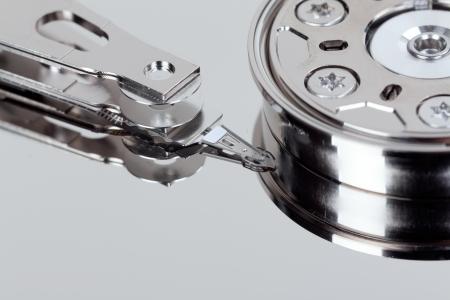 harddrive: close up macro of an opened computer harddrive Stock Photo