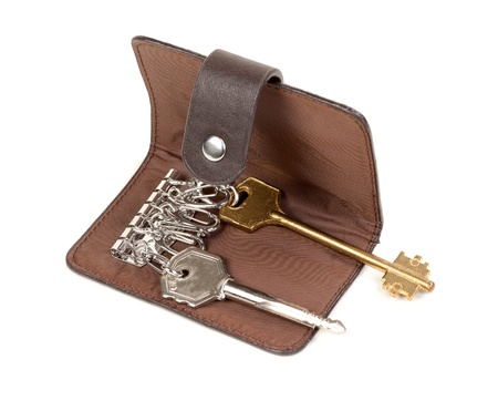 Brown Leather Purse for Keys Isolated on White Background photo