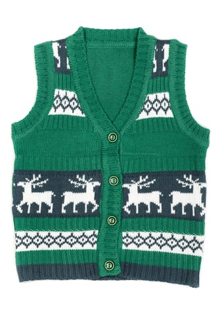 knitted vest with a Christmas ornament (with deer). Isolate on white background. Stock Photo