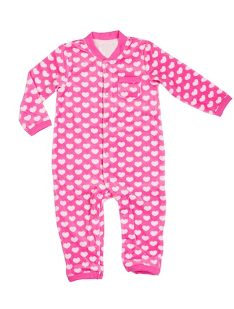 romper: Pink romper with a heart pattern. Isolate on white.