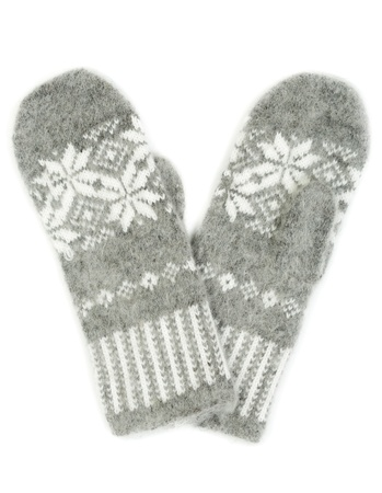 Grey knitted gloves with a pattern of snowflakes isolated on white background photo