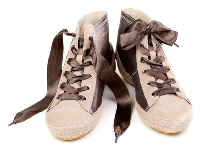 Pair of fashionable sneakers, isolated on white background Stock Photo - 18017171